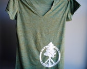 Evergreen Peace Tree of Life T-Shirt - V Neck Heather Burnout Tunic - Emerald with White Print - Womens size Large