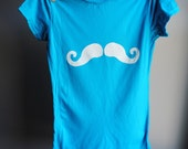 Black Friday / Cyber Monday SaleMustache T-Shirt -  Fitted, Hand Dyed Turquoise Blue with White Screen Print - Womens Medium
