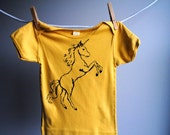 Unicorn Mustard Yellow Organic Shirt - Screen Printed with Black Ink - sized 12 to 18 months