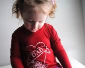 Dad Shirt, Organic Long Sleeved Kid Shirt Cherry Red.  Baby Shirt. 3-6 month