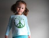 Peace Shirt.  Children Long Sleeved Organic Shirt.  Peace Tree.  Aquamarine Blue.   3 months