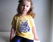 SALE - Owl Kid Shirt. Burnout. Sunshine Yellow. Dark Blue Screen printed Ink, size 2 toddler