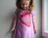 Strawberry T-Shirt Dress, Toddler Dress. Orchid Purple. Red. size 6