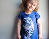 Marie Antoinette T-Shirt Dress,  Hand Dyed Marine Blue and screen printed in White ink. size 2t SALE