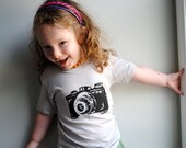 Camera T-Shirt. Baby Camera Shirt.  Toddler Camera Shirt. Silver Grey. 2 toddler.