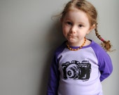 Pre-Order Camera Shirt. Kid Shirt.  Purple Raglan. Size 2 - 4 - 6