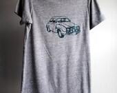 1972 Saab, Vintage Car  T-Shirt,  Eco-Heather Grey with Hunter Green Print -  2XL - SALE