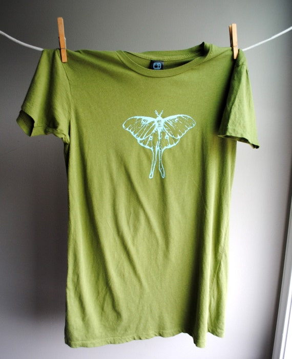 Luna Moth T Shirt Womens Size Large Olive Green By Wrenwillow