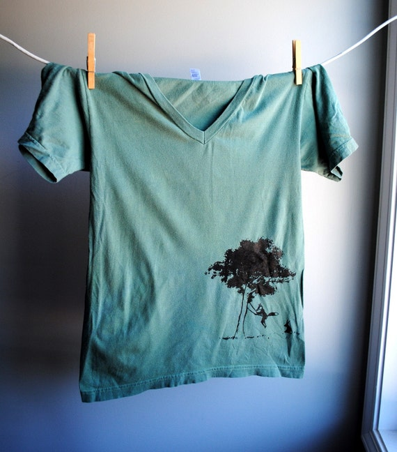 Story Book Friends - Fox and Rabbit Tree Swing -  Unisex V neck T-Shirt, Hand Dyed Hunter Green and Printed in Black Ink - size XS, Extra Small