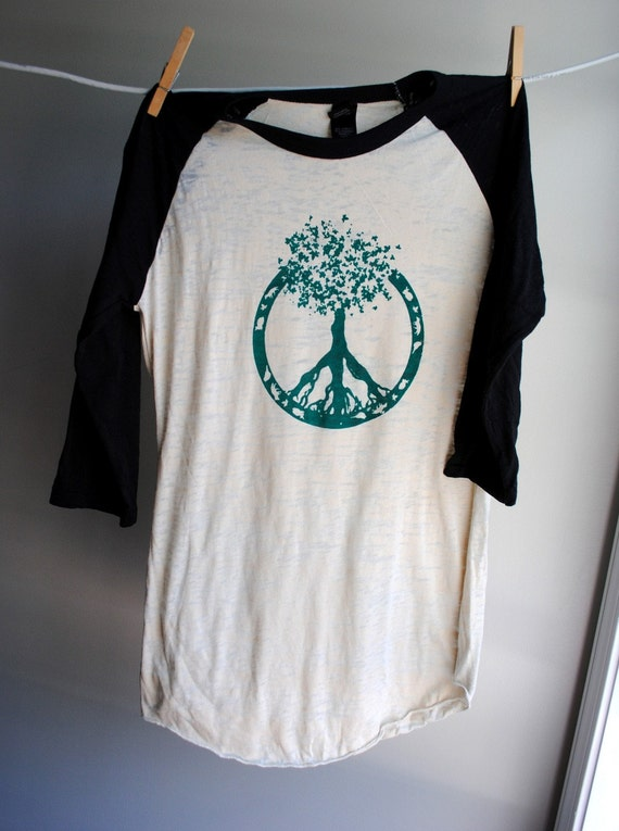 Peace - Tree of Life Baseball Style Burnout Shirt - Black and Natural - 3/4 sleeves - Unisex Extra Small