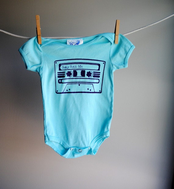 Baby Rock Mix Infant Bodysuit, Organic,  sized 6 to 12 months - Hand Dyed Aqua Blue with Purple Screen print