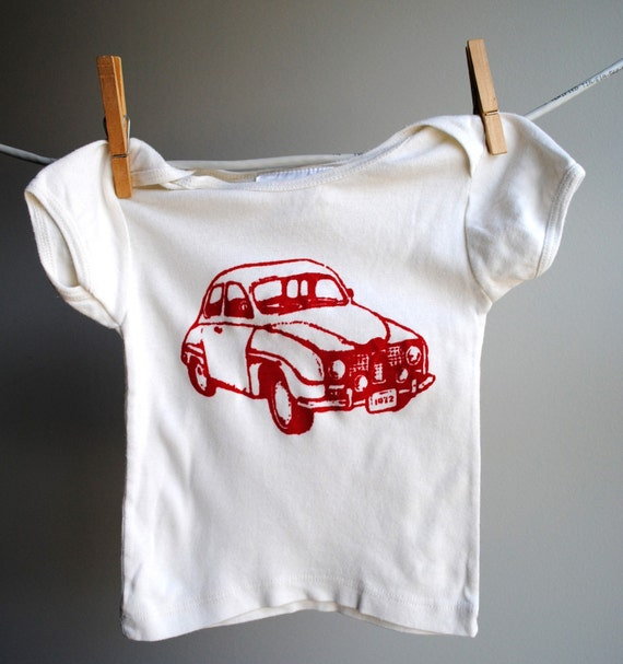 Saab Infant Organic Shirt - Hand Dyed  Off White Ecru and Screen Printed in Red Ink - sized 6 to 12 month