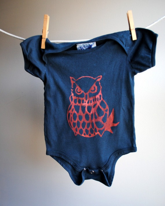 Ozymandius the Grumpy Owl Organic Infant Bodysuit - Hand Dyed Dark Midnight Blue with Red-Orange Ink, 12 to 18 months