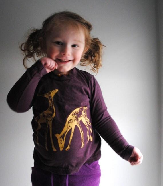 Gold Deer Kids Shirt, Organic  Long Sleeved,  Deep Fig Purple. Childrens Size 8 years SALE