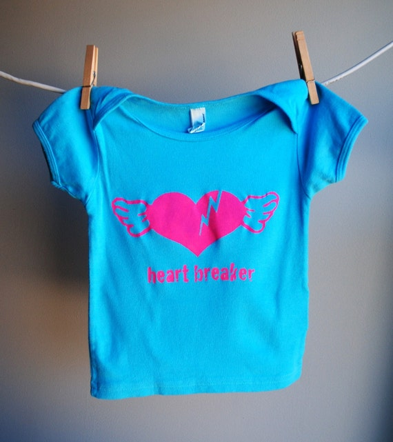 Heart Breaker Infant T-Shirt -  Hand Dyed Turquoise Blue and Screen Printed in Pink Ink, 18-24 months