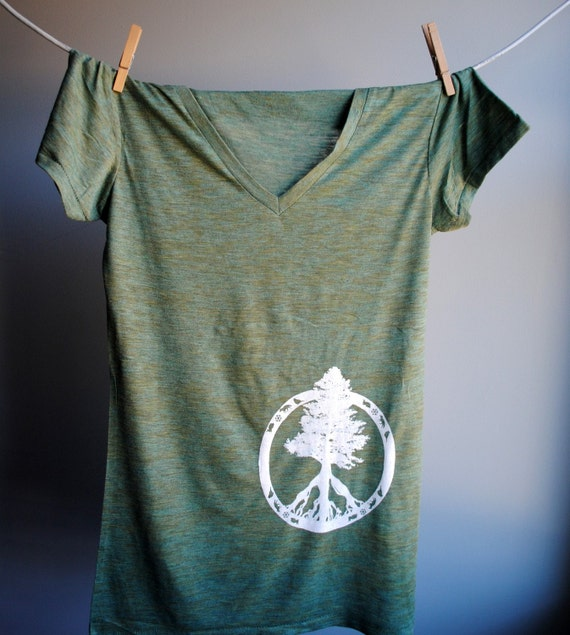 Evergreen Peace Tree of Life T-Shirt - V Neck Heather Burnout Tunic - Emerald with White Print - Womens size medium
