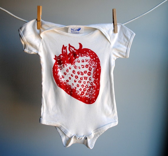 Strawberry Infant Bodysuit, Hand Dyed Ecru off White and Screen Printed with Red with a spot of Black Ink, sized 12 to 18 month
