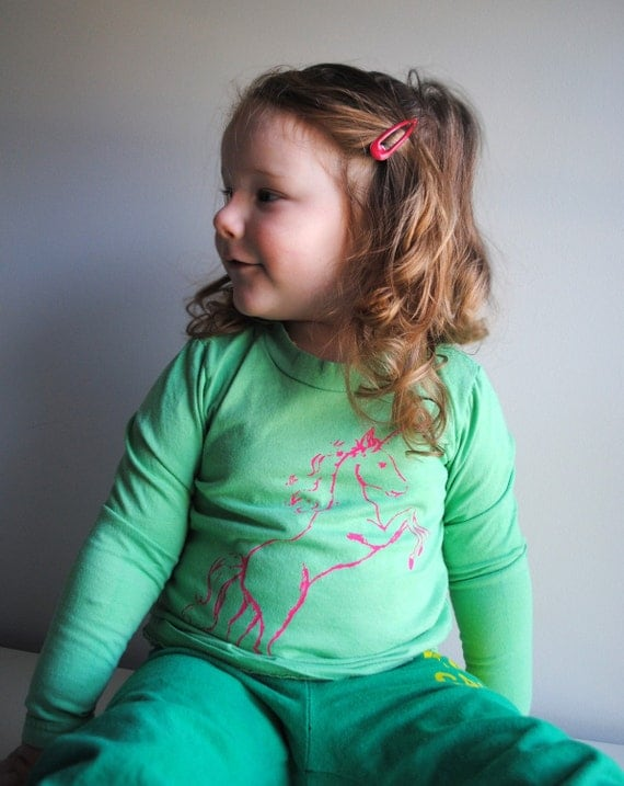 Unicorn Shirt, Organic and Long Sleeved, Hand Dyed Minty Aqua Green and Screen printed in Neon Pink ink.  Sizes 2 toddler & 10 years