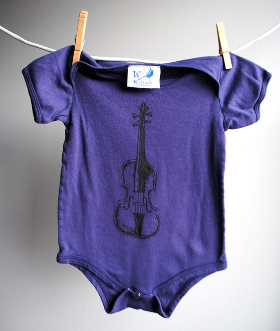 Fiddle - Violin Bodysuit, Organic - Hand Dyed Dark Plum and Screenprinted in Black Ink - 18 24 month
