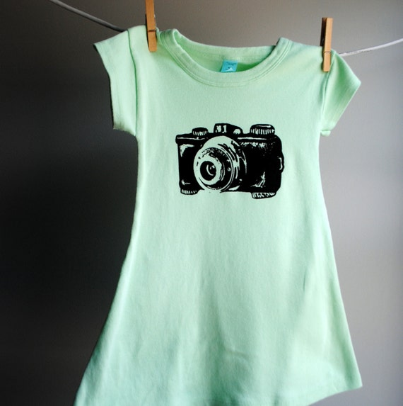 Vintage Camera T-Shirt Dress,  Hand Dyed Minty Aqua Green and screen printed in Black ink. Size 8