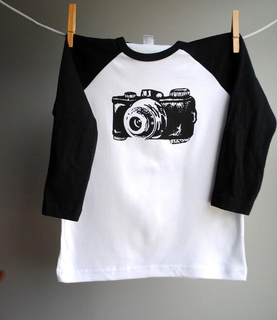 Camera Black Raglan Shirt, sizes  12 Youth  SALE