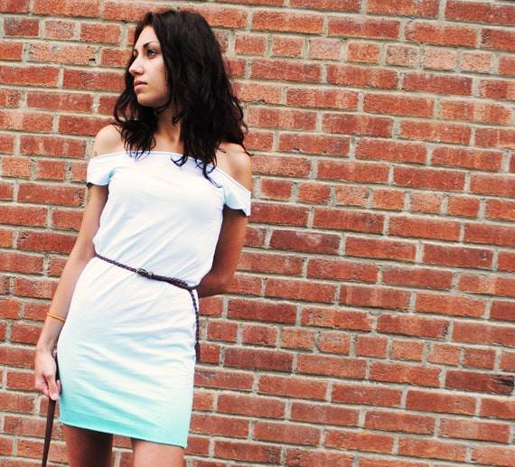 SALE - Aquamarine Green Ombre Dress, Soft Jersey, Hand Dyed, Medium - SALE