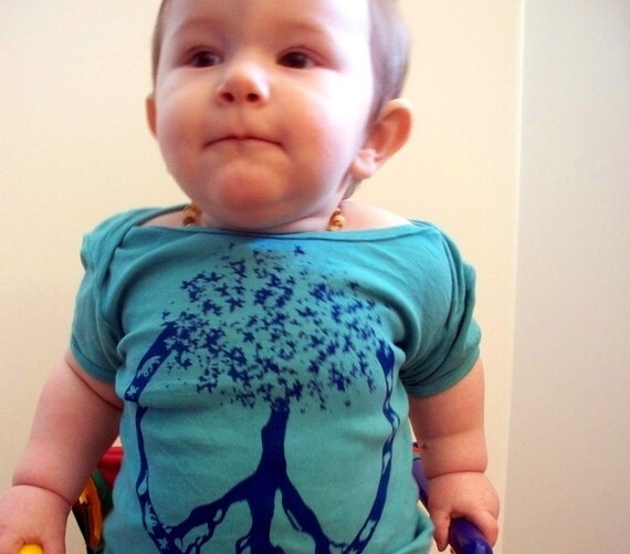 Peace - Tree of Life - Screen Printed Hand Dyed  T-Shirt or Onesie, 3 months - 12 Years. You choose colors and size.