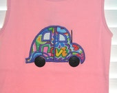 4T Custom Boutique VW Doodlebug appliqued pink tank top