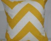 New 18x18 inch Designer Handmade Pillow Case in yellow cheveron pattern