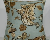 New 18x18 inch Designer Handmade Pillow Case in blue and brown floral linen
