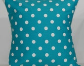 New 18x18 inch Designer Handmade Pillow Cases in white dots on turquoise