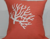 New 18x18 inch Designer Handmade Pillow Case in white on coral coral patterned fabric.