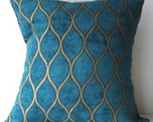 New 18x18 inch Designer Handmade Pillow Case. peacock blue and gold textured fabric