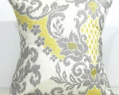 New 18x18 inch Designer Handmade Pillow Case in yellow cream and grey ikat