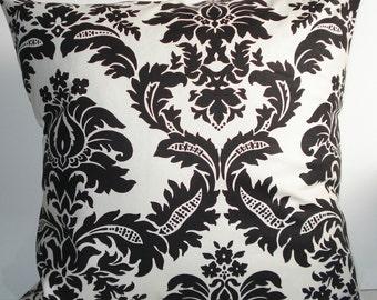 New 18x18 inch Designer Handmade Pillow Case in black and white damask