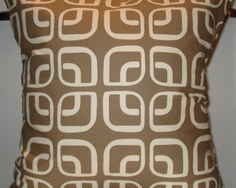 New 18x18 inch Designer Handmade Pillow Case in brown geometric pattern.