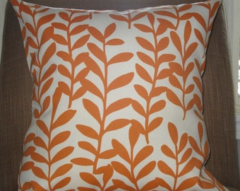New 18x18 inch Designer Handmade Pillow Case in bright orange leaves on white.