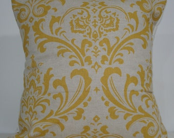 New 18x18 inch Designer Handmade Pillow Case. Large damask in corn yellow and linen color fabric.