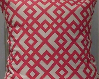 New 18x18 inch Designer Handmade Pillow Case in pink geometric on white.