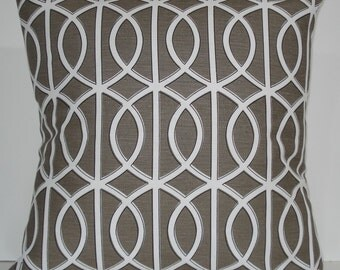 New 18x18 inch Designer Handmade Pillow Cases. Dwell Studio. lattice, trellis, link. warm grey