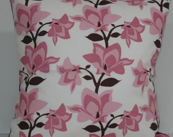 New 18x18 inch Designer Handmade Pillow Cases in pink and brown magnolia flowers