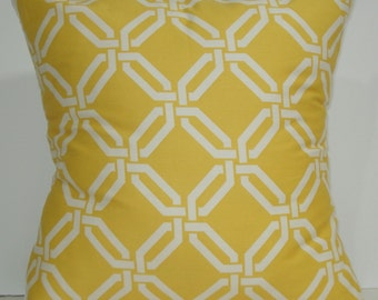 New 18x18 inch Designer Handmade Pillow Cases. Bright yellow and white link pattern.