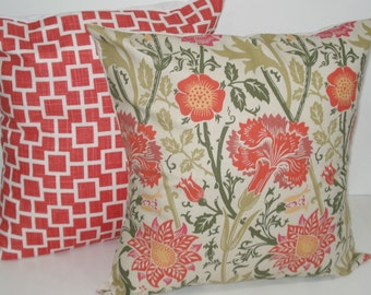 TWO New 18x18 inch Designer Handmade Pillow Cases in pink and green
