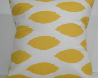 New 18x18 inch Designer Handmade Pillow Cases in yellow ikat