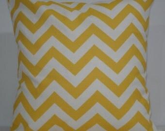 New 18x18 inch Designer Handmade Pillow Case. Corn yellow and white chrvron zig zag pattern.