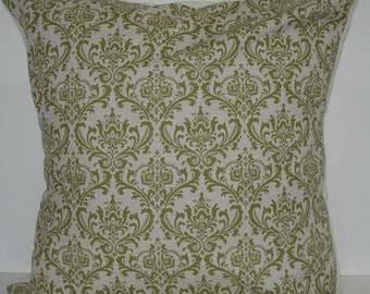 New 18x18 inch Designer Handmade Pillow Case. Damask pattern in olive green on linen colored fabric .