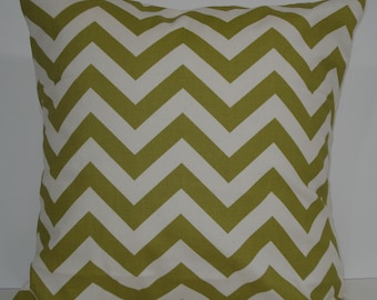 New 18x18 inch Designer Handmade Pillow Case olive and natural chrvron zig zag pattern.