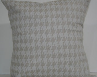 New 18x18 inch Designer Handmade Pillow Cases in large scale white and natural houndstooth