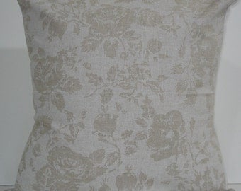 New 18x18 inch Designer Handmade Pillow Cases in white floral on natural
