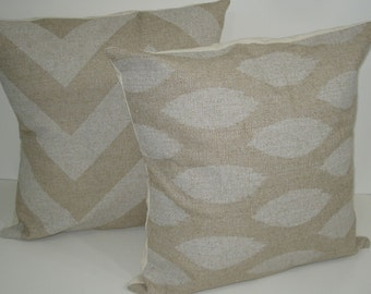 TWO New 18x18 inch Designer Handmade Pillow Cases in white on natural, textured fabric